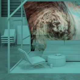 Fotomural para el dormitorio - Acuarela oscura en agua con pequeñas piezas de pintura