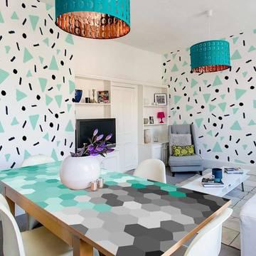 Fototapeta a nálepka do obývacího pokoje - Pastelově modrá geometrické vzory