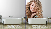 Mural de Parede Beauty girl with blonde curly hair. Long permed hair ... f25d71d4aa