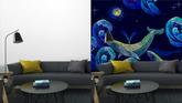 Vyšívací velryby bezešvé vzor. modré velryby plavou noční moře. klasické  umělecké vyšívání 93f242f31f