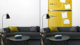 Retro Kühlschrank Gelb : Fototapete gelb retro kühlschrank mit papier stickies für ihre