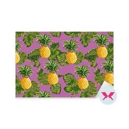 Adesivo - Ananas e foglie tropicali sfondo