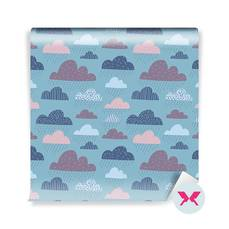 Wall Mural Toddler - Cute funny clouds
