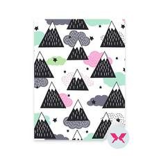 Sticker Toddler - Geometric snowy mountains, clouds and stars
