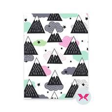 Adesivo per i più piccoli - Geometrico montagne innevate, nuvole e stelle