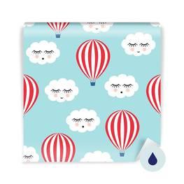 Fotomural para bebé - Nubes durmientes y globos de aire caliente