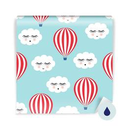 Wall Mural Toddler - Smiling sleeping clouds and hot air balloons
