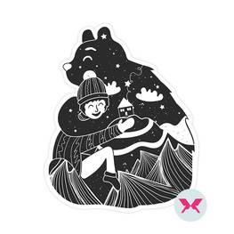Adesivo - Orso e ragazzino