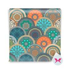 Carta da Parati - Struttura astratta modello di cerchi colorati floreali trendy colorato
