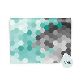 Fototapet till matsalen - Pastellblå geometrisk hexagonmönster