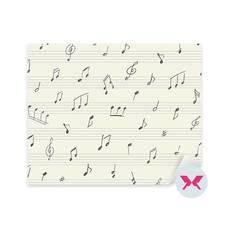Çıkartması - El ile yazılan müzik notaları ile müzik deseni
