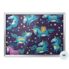 Plakat dla przedszkolaka - Słodkie jednorożce na nocnym niebie