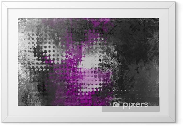 Póster Enmarcado Resumen de fondo grunge con gris, blanco y morado - Industrial