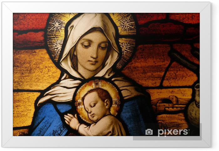 Stained glass depicting the Virgin Mary holding baby Jesus Framed Poster - Holy Family