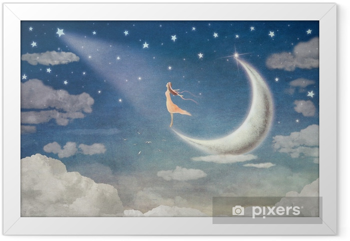 Girl on moon admires the night sky - illustration art Framed Poster - States of Mind