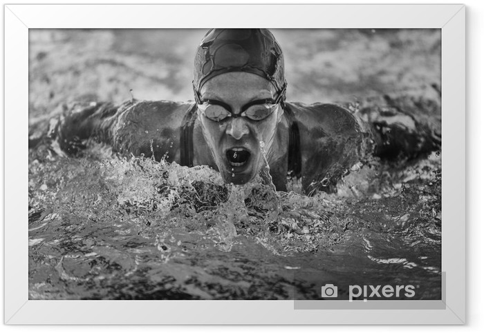 Butterfly stroke swimming champion Framed Poster - Sports