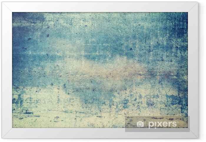 Horizontally oriented blue colored grunge background Framed Poster - Graphic Resources