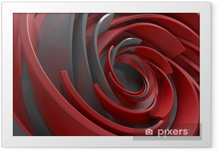 Plakat w ramie 3d renderingu abstrakta tło. skręcone, koncentryczne kształty. obracane elementy o losowych rozmiarach z powierzchnią odbijającą. - Zasoby graficzne