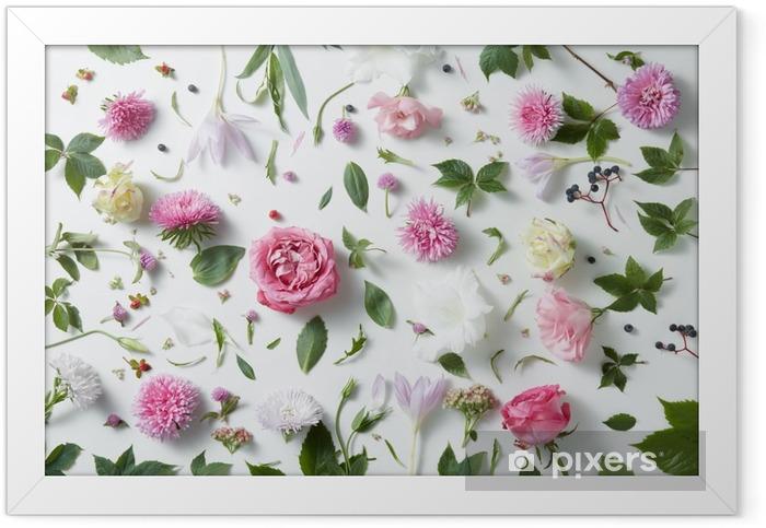 Plakat w ramie Eleganckie tło z róż - Rośliny i kwiaty