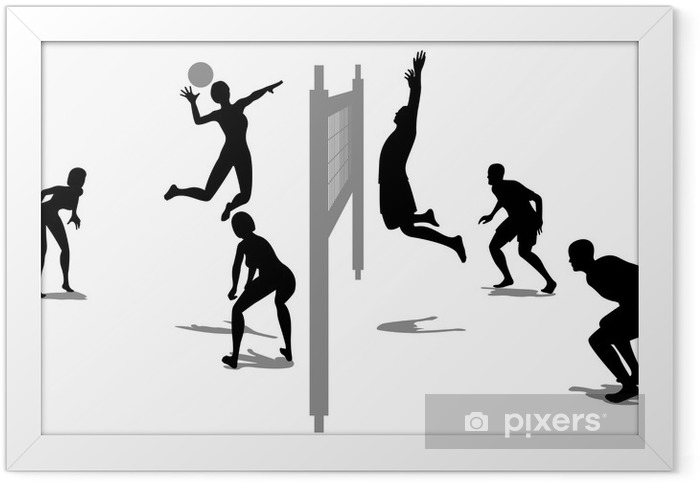 volleyball game silhouette vector 3 Framed Poster - Volleyball