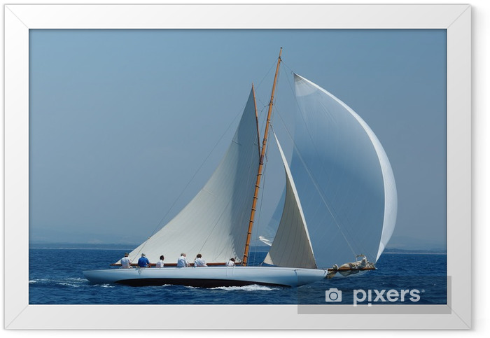 navigazione sotto spinnaker bianco Framed Poster - Themes