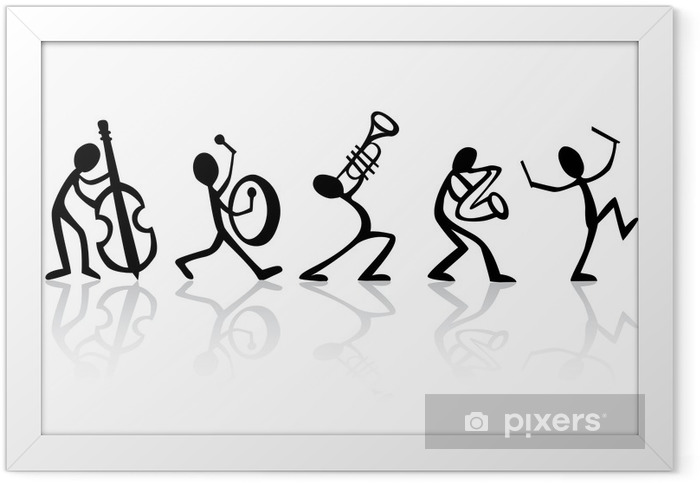 Band musicians playing music, vector ideal for t-shirts Framed Poster - Jazz