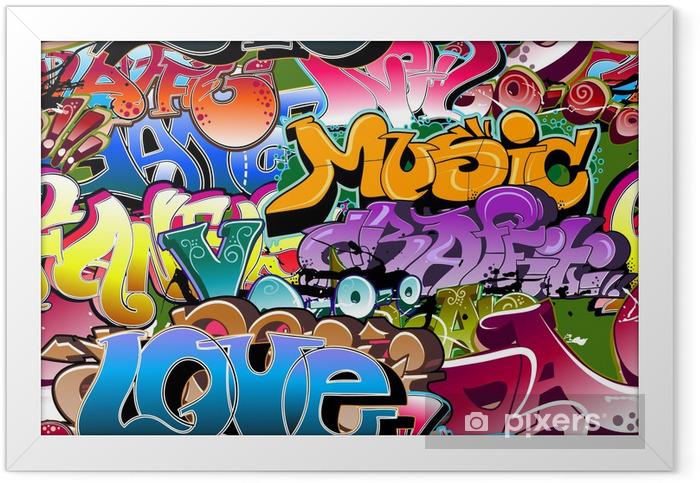 Graffiti seamless background. Hip-hop art Framed Poster -