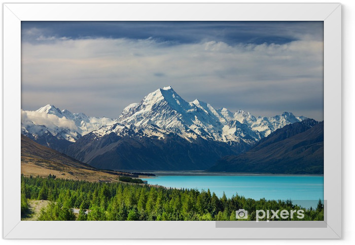 Mount Cook and Pukaki lake, New Zealand Framed Poster - Oceania