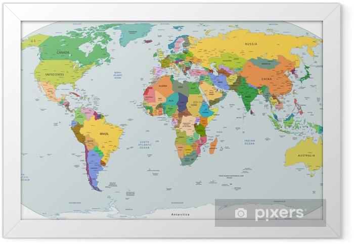 Plakat w ramie Globalnej mapie politycznej świata, wektor - Przeznaczenia