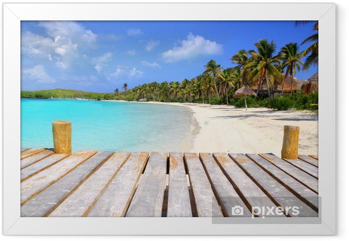 Contoy Island palm treesl caribbean beach Mexico Framed Poster - Themes