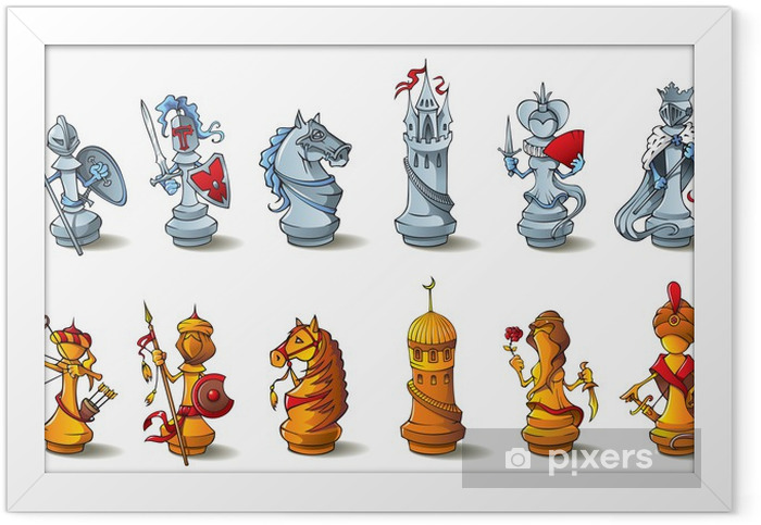 Poster en cadre Jeu d'échecs complet, croisés contre les Sarrasins, raster illustration - Jeux