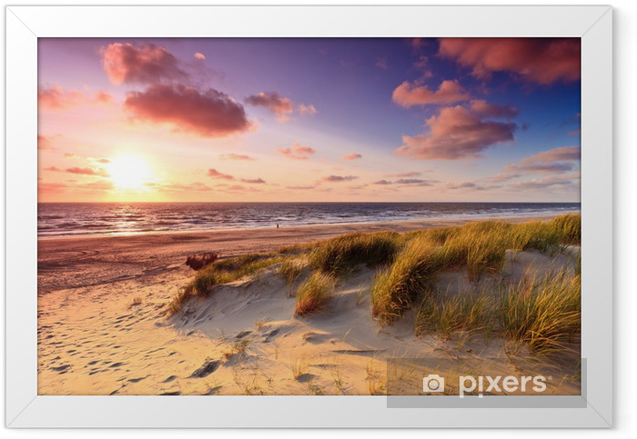 Seaside with sand dunes at sunset Framed Poster - Themes