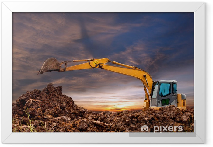 Excavators were working the evening. Framed Poster - Industrial Tools