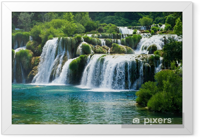 Fairytale waterfall surrounded by greenery Framed Poster - Waterfalls