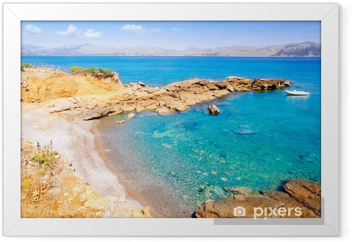 Alcudia in Mallorca la Victoria turquoise beach Framed Poster - Europe