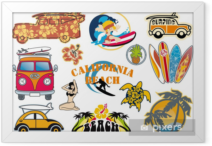 California beach vector cliparts Framed Poster - Holidays