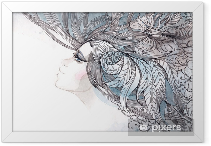 her hair ornate with foliage Framed Poster - Fashion