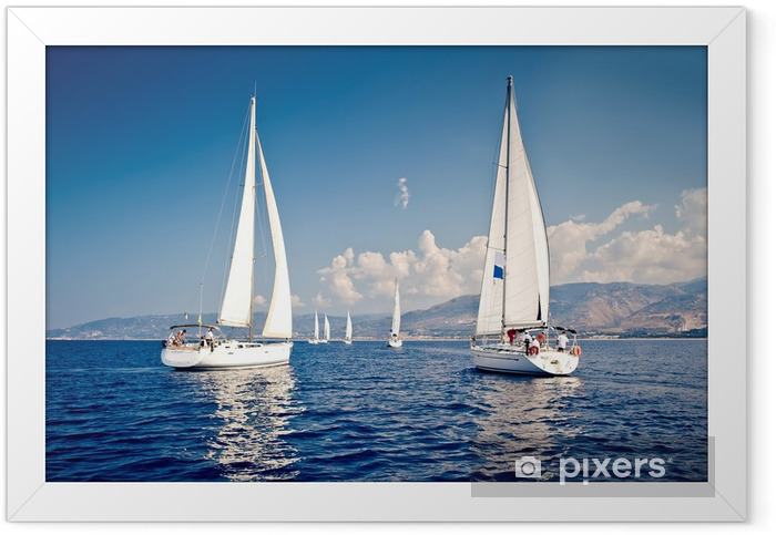 Sailing ship yachts with white sails Framed Poster - Summer