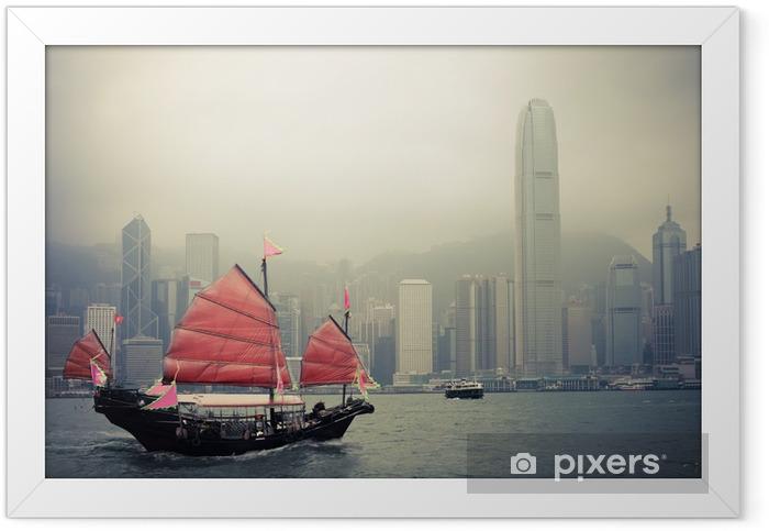 Plakat w ramie Chiński styl żaglówkę w Hongkongu - Style