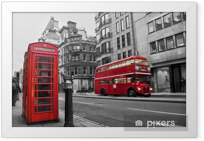 Plakat w ramie Czerwona budka telefoniczna i autobusów w Londynie (Wielka Brytania) - Style