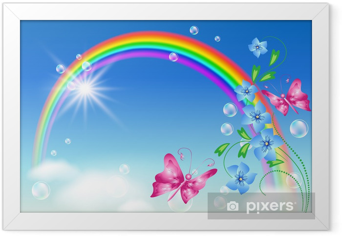 Rainbow in the sky Framed Poster - Rainbows