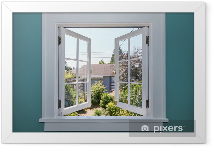 Open window to the back yard with small shed. Framed Poster - Private Construction