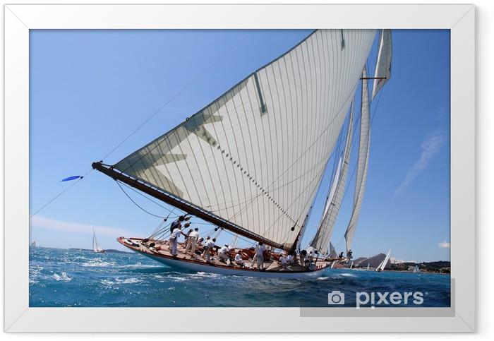 Poster en cadre Team spirit esprit d'équipe voilier regate mer ocean yachting - Bateaux
