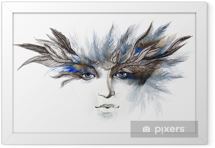 feathers around eyes (series C) Framed Poster - Fashion