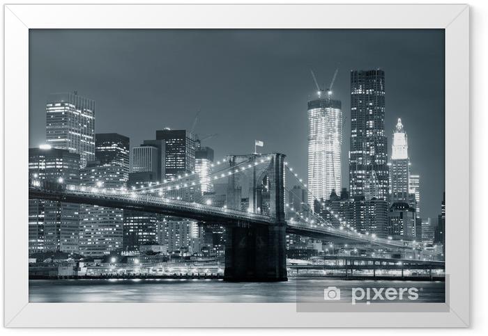 Plakat w ramie New York City Brooklyn Bridge -