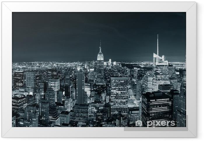 New York City Manhattan skyline at night Framed Poster -