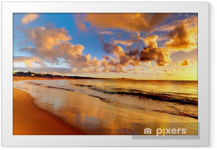 beautiful sunset on the beach Framed Poster - Themes