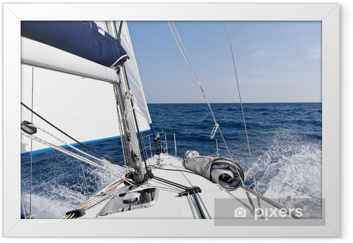 Speed sailing yacht in the sea Framed Poster - iStaging