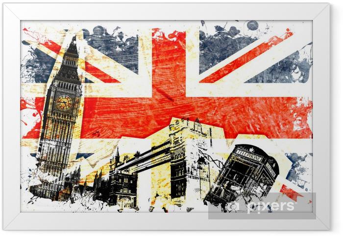 drapeau anglais decoupe Framed Poster -
