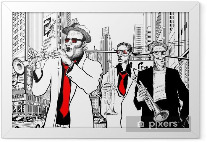 Poster en cadre Groupe de jazz dans une rue de New-York - Jazz
